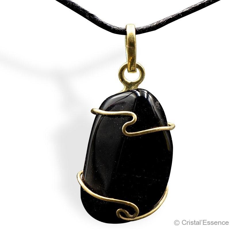 Onyx roulé, pendentif plaqué or