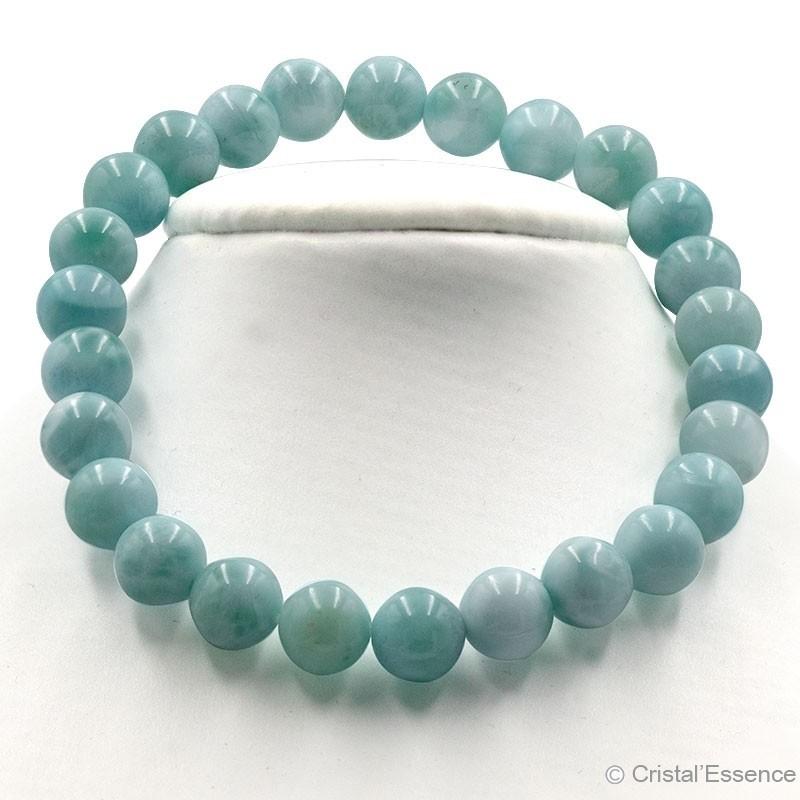 Bracelet Larimar, perles de 5 ou 7,5 mm