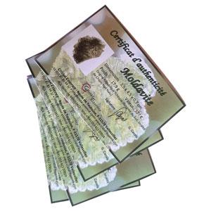 Certificat piece unique Moldavite